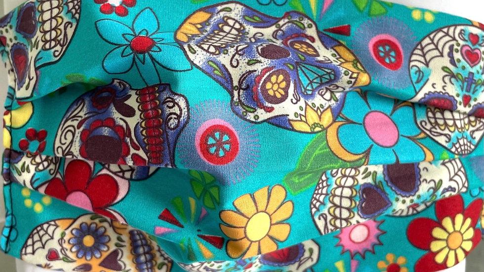 Turquoise floral skulls