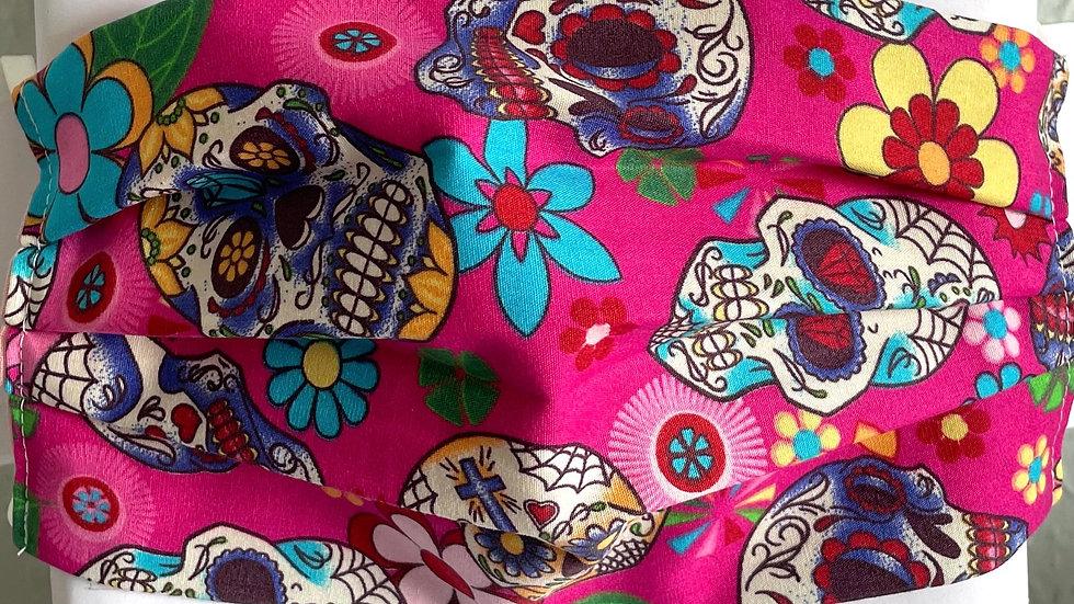 Pink floral skulls