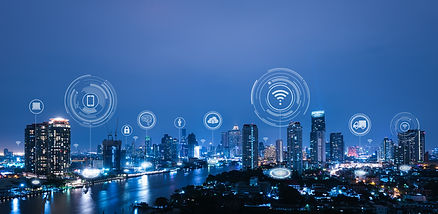 Cityscape with connecting dot technology