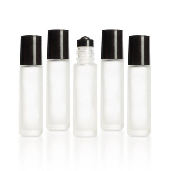 5 PACK - 10ml Clear Glass Roller Bottle