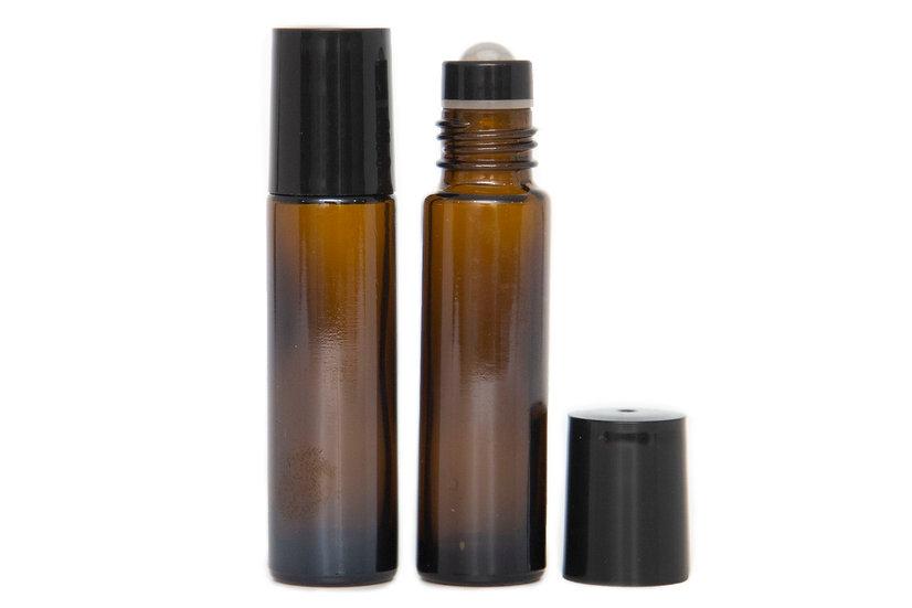 5 PACK - 10ml Amber Glass Roller Bottle