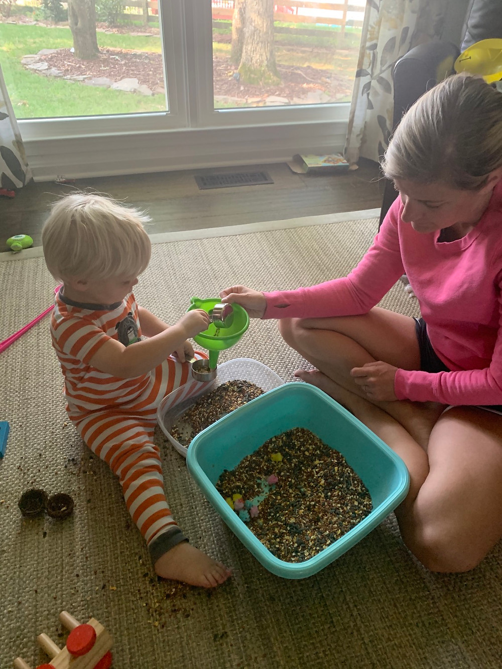 Bird Seed Sensory Bin for Preschool and Toddlers
