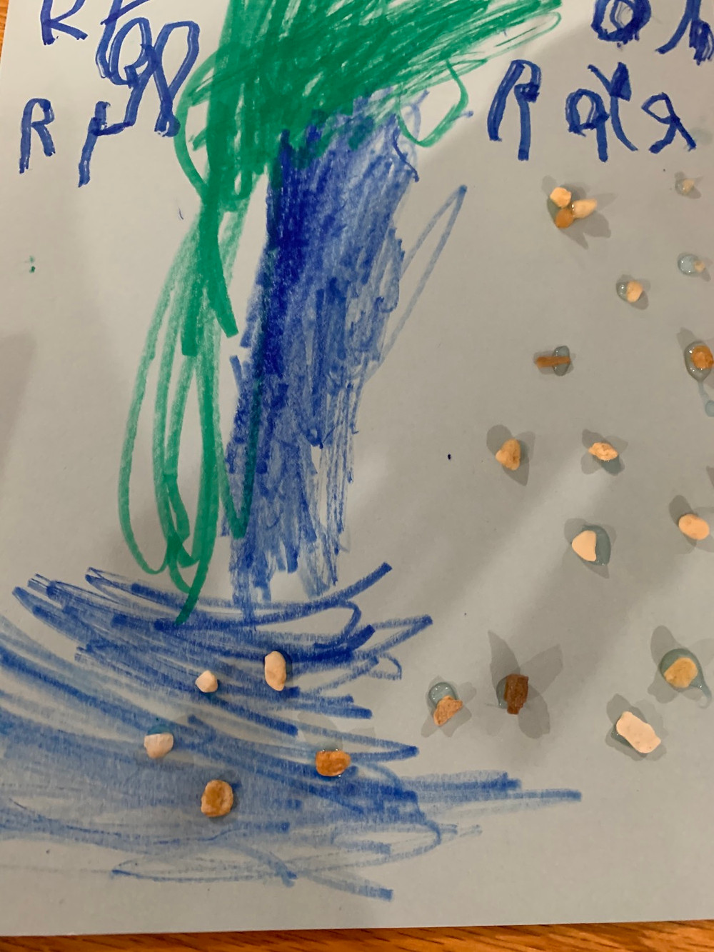 Waterfall art by a 4 year old