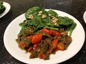spinach salad and pepper tapanade.jpg