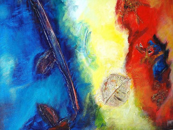 Spanische Impression 70 x 90 Blautöne, grün, gelb, rot-orange mit Blättern und Blattteilen, Palmschote und Spiegelelementen - Ein Blatt im Wind.
