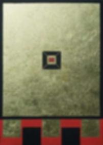 fokus 100 x 70 schwarz-rot und Blattgold - Hier gilt die Aufmerksamkeit einembestimmten Punkt. Der Fokus wird auf einen bestimmten Teil des Bildes gerichtet.