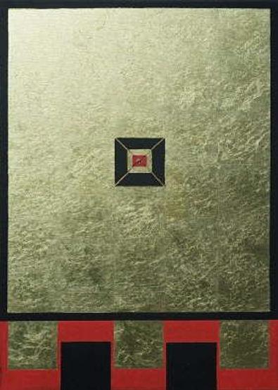 fokus 100 x 70 schwarz-rot und Blattgold