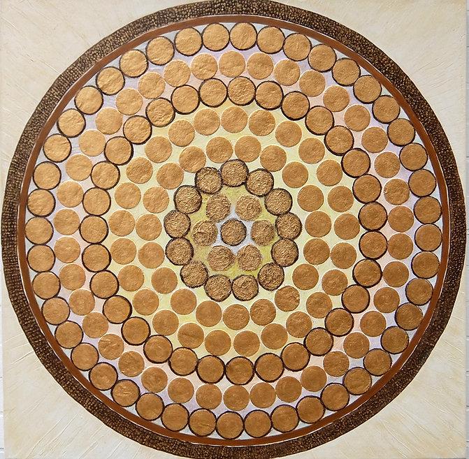 LICHTRAD 100 x 100 weißgrau-gold, braun,Papier, Palmfaser- Ein Lichtrad reflektiert das Sonnenlicht und dreht sich im Kreis der Reflexionen.