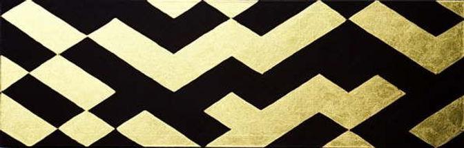 fries III 40 x 120 schwarz, Blattgold - Geometrie und Symetrie