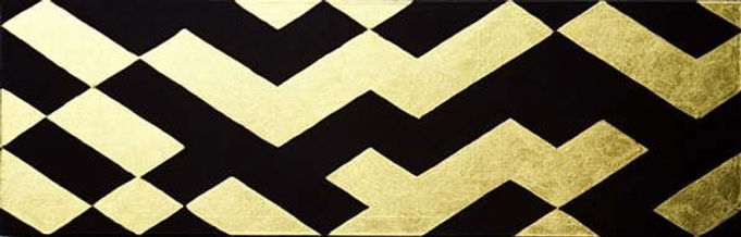 fries III 40 x 120 schwarz, Blattgold