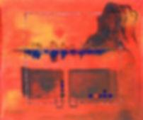 Calpe - versunkene schätze 130 x 140 orange, rot, blau, schwarz