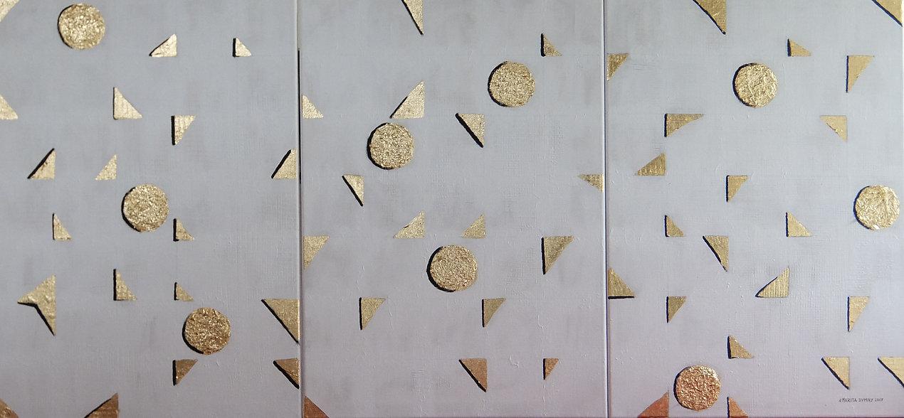 traviso 3 x 70 x 50 Blattgold und Palmfasern in Symbiose auf grauemAcryl- Asymetrie von Dreiecken und Kreisen
