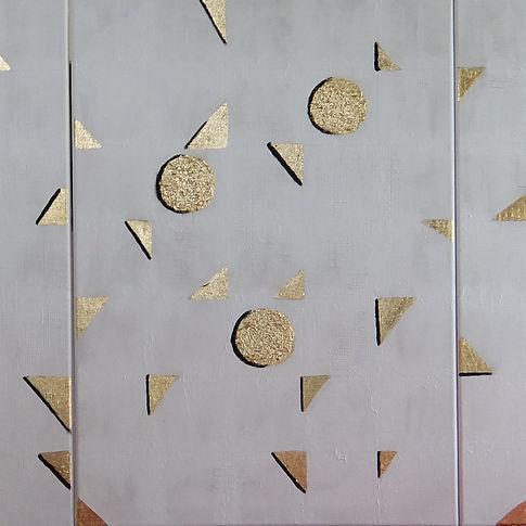 traviso 3 x 70 x 50 Blattgold und Palmfasern in Symbiose mit,grauemAcryl