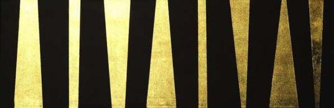 fries II 40 x 120 schwarz, Blattgold - Geometrie und Symetrie