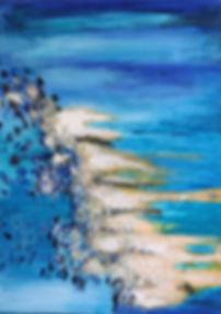 """Larimar II 70 x 50 Wunderbar in erfrischenden türkis-blau Tönen mitAcrylund Netztechnik mit echten Larimar-Steine- """"LARIMAR I + II""""versetzt uns in eine Art euphorische Stimmung - eine optische und mentale Explosion von weiß, türkis-blau, royal-blau bis dunkelblau. Alles Leben entstand im Meer, und hierbei ist es Marita Dymny herausragend gelungen, die Vorstellung dieses Evolutionsprozesses mit Leichtigkeit zu erwecken.    Echte Larimar-Steine aus der Dominikanischen Republik veredeln das Bild und verhelfen ihm zu """"Ganzheit"""". Der Larimar versetzt in Urlaubsstimmung und läßt den Alltag für eine Weile vergessen. Die Verwendung von Naturnetz lässt die Brandung sehr realerscheinen."""