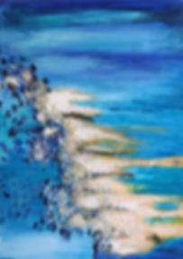 Larimar II 70 x 50 Wunderbar in erfrischenden türkis-blau Tönen mitAcrylund Netztechnik mit echten Larimar-Steine, blau, türkis