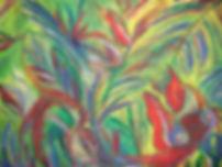 tropengarten 80 x 100 blau, grün, gelb, rot, weiß