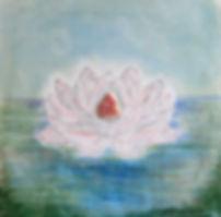 """LEBENSFREUDE 30 x 30 Azurblau, Grün-Töne mit weiß-rosé und Rosenquarz - Lebensfreude bringt uns dazu, uns zu """"ent-falten"""" wie diese Lotusblüte."""