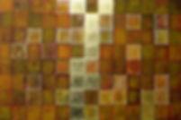 Goldene mitte 100 x 150 orange, ocker-grün mit Blattgold - Sie bleiben in Balance, wenn Sie die goldene Mitte als Lebensphilosopie wählen.
