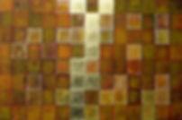 Goldene mitte 100 x 150 orange, ocker mit Blattgold - Sie bleiben in Balance, wenn Sie die goldene Mitte als Lebensphilosopie wählen.