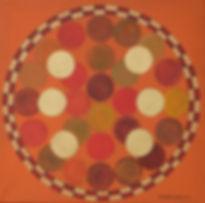 CICLO3 40 x 40 orange-oliv-goldfarben - Überlagernde Kreise in unterschiedlichen harmonischen Farben bewegen sich innerhalb eines Ringes ausKarrès