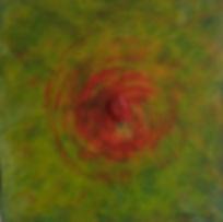 FREUDE 40 x 40 orange auf grüntönen mit Schaumkoralle poliert - Freude, Ausgelassenheit