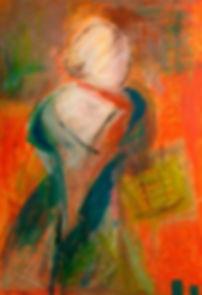 frau mit gelbem korb 50 x 40 orange, blau, grün, gelb, rot, weiß