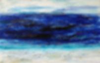 Larimar I 75x 115 In weiß und tiefgründigen Blau-Tönen mitAcrylund Netztechnik undechten Larimar-Steine, blau, türkis