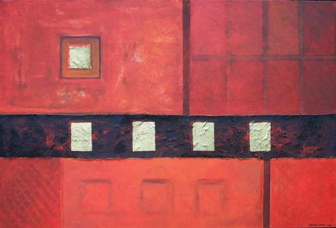 singapur 80 x 120 orange-rot , dunkelrot, schwarz, Palmfasern, Blattgold
