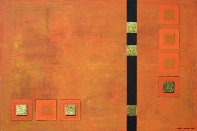 verborgene träume 80 x 120 Orange-Töne, schwarz und Blattgold