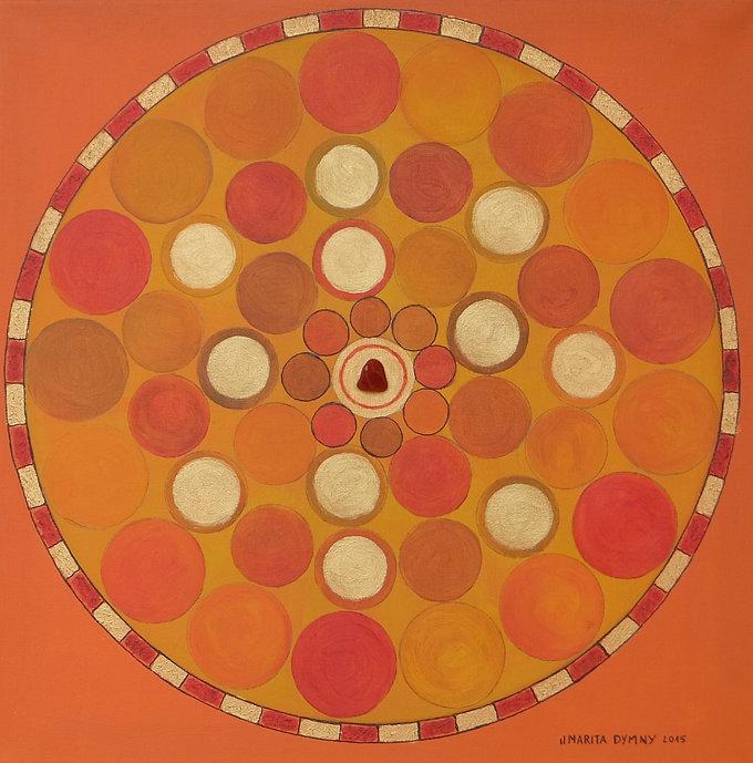 AUSGEGLICHENHEIT 40 x 40 orange-gelb auf orange mit roter Jaspis - Ausgeglichenheit bedeutet Ausgleich, Ausgewogenheit - beide Wagschalen sind auf einer Ebene