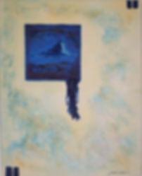 iFach mit auslaufendem meer 50 x 40 nachtblau, blau, azurblau, weiß, gelb