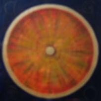 LEBENSRAD 125x 125 orange, grün, blau und goldfarben - Das Rad des Lebens, ein immerwährender Kreislauf von Werden und Vergehen.