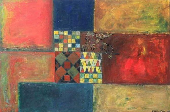 san marco 80 x 120 blau-rot, gold , Blattgold