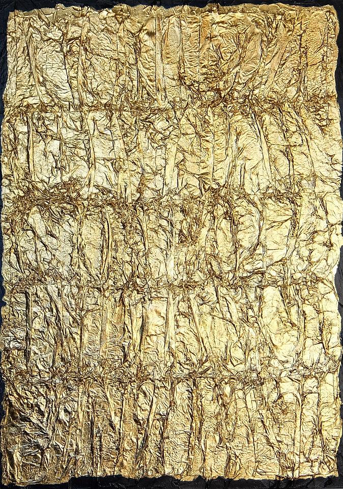 das goldene vlies 70 x 50 Blattgold auf handvernähtem Papier