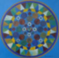 SELBSTBEWUSST-SEIN 40 x 40 Regenbogenfarben auf mittelblau mit  Blattgold, Palmfasern und Türkis - Durch leuchtende Farben und klare Formen strotzt das Bild mit Selbstbewusst-Sein. Sich selbst bewusst sein, sich wahrnehmen ist etwas, was den Menschen diesbezüglich vom Tier unterscheidet.