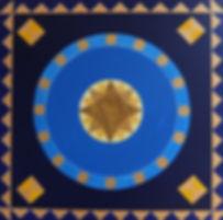 ESTRELLA 80 x 80 Nachtblau, mittelblau, hellblau, goldfarben mit Palmfaser - Eine Ode an Spanien - und die sternenklaren Nächte am Meer.