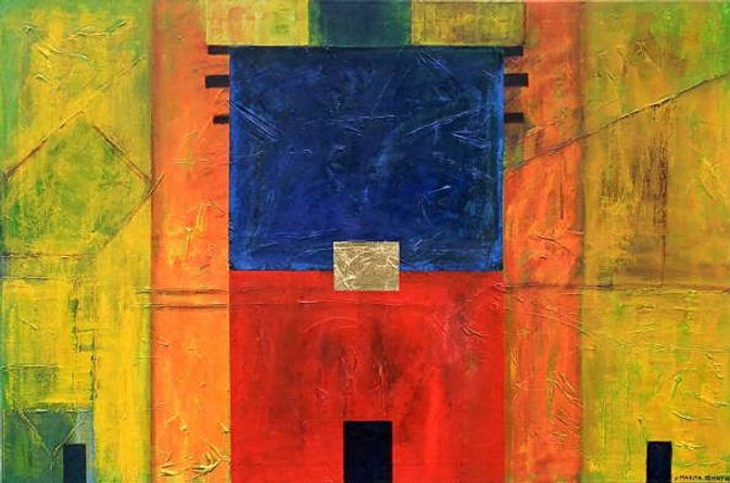 tore I 80 x 120 gelb, ocker, orange, rot, blau, grün, schwarz mit Blattgold