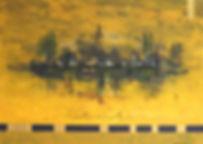 trauminsel 50 x 70 gelb, ocker, gold, schwarz, grün, braun, weiß