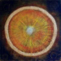 """Alpha 60 x 60 """"feurig-lichte"""" Farben und """"Nacht-Farben""""  mit Palmfasern und Blattgold - Alpha - der Anfang, der Ursprung aller Dinge. Alpha und Omega fließen ineinander."""