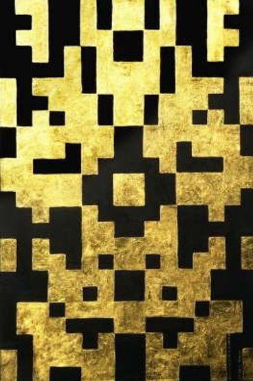 duo i 120 x 80 schwarz mit Blattgold - Geometrie und Symetrie