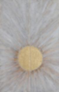 FREIE ENERGIE 120 x 40 weißgrau-gold Papier, Palmfaser und Blattgold - Freie Energieist schier unerschöpflich. Sie produziert sich aus sich selbst heraus - wie beispielsweise die Sonne, die verschwenderisch Energie abgibt, ohne dabei selbst Energie zu verlieren.