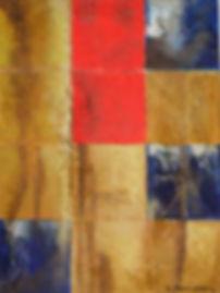 fragmente 40 x 30 ocker, rot, blau, weiß, gelb, braun