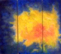 """Energie 2 x 90 x 30, 1 x 90 x 40 Acryl - Explosion, Strahlung, Schwingung, Thermik, Rotation, Gravitation, Spannung - dies und noch mehr verkörpert für uns der Begriff """"ENERGIE""""!  Spüren wir Energie, so ist unsere Lebenskraft lebendig und will von uns freigesetzt und gelebt werden.  Der Chakrenfarblehre zufolge bündelt sich in diesem Werk die Energie im Sakralchakra und im Solarplexusbereich (gelb und kräftiges orangerot) und möchte über Kommunikationskanäle (blau) nach Außen transportiert und zum Ausdruck gebracht werden."""