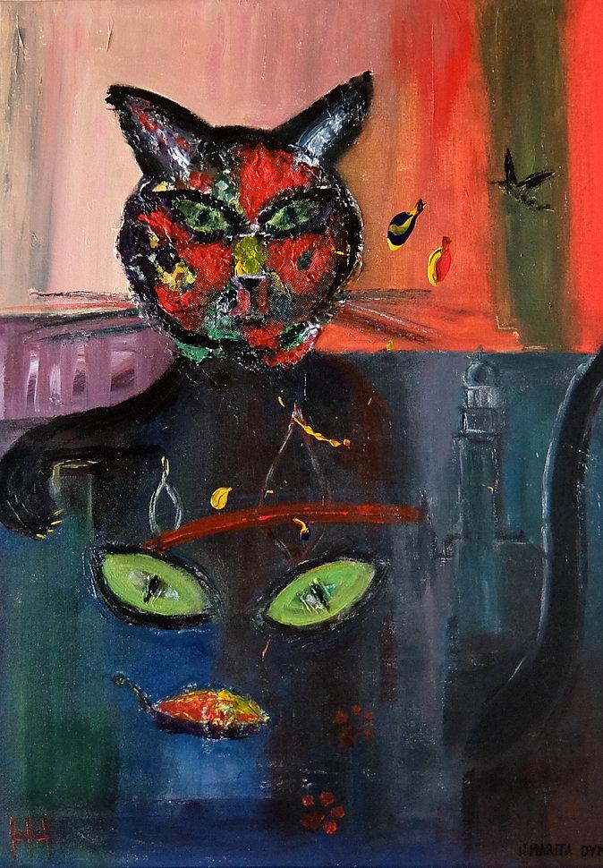 Katze Hamburg (Zufriedenheit) 70 x 50 Acryl