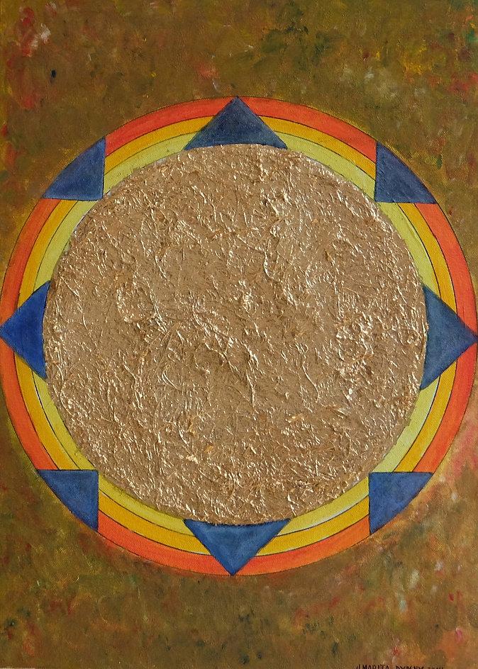 JOY II 45x 30 regenbogenfarben auf oliv mit Palmfasern und Blattgold - Sonne, Freude, Leichtigkeit ... Regenbogenstimmung