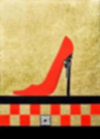 Der rote schuh 100 x 70 rot, schwarz, Blattgold - Ein roter Schuh feuert Erotik ab. Er verfehlt selten sein Ziel.