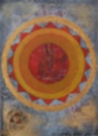 amritsarIII 70 x 50 orange, ocker, gold, weiß, schwarz, grau mit Palmfasern - Amritsar ist eine Millionenstadt im indischen Bundesstaat Punjab. Die Stadt ist das spirituelle Zentrum des Sikhismus. Hier wurde am 13. April 1010 ein Massaker von britischen Soldaten und Gurkhas an Sikhs, Muslimen und Hindus verübt, die für die Unabhängigkeit Indiens protestierten.