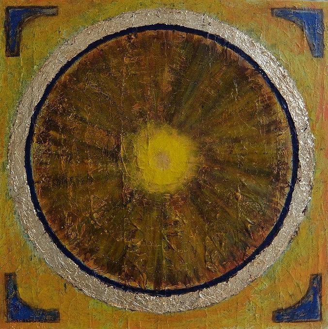 EINGERAHMT 60 x 60 oliv-braun-blau mit Palmfasern und Blattgold - Alles, was eingerahmt wird, ist einem wichtig - oder auch etwas den richtigen Rahmen geben.