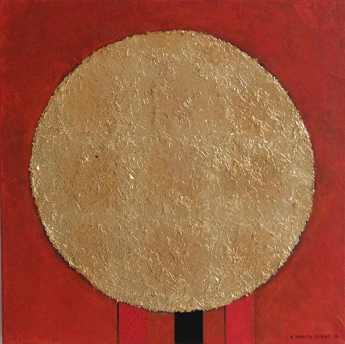 KLEINE SONNE 60 x 60 Orangerot mit Palmfasern und Blattgold - Das Bild vermittelt den Eindruck einer untergehenden Sonne am orangeroten Abendhimmel oder auch einer aufgehenden Sonne am orangeroten Morgenhimmel. Die Wahrheit liegt im Auge des Betrachters.